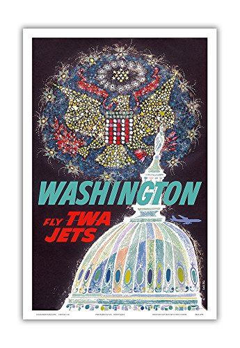 Washington DC - Trans World Airlines Fly TWA Jets - American Eagle Freedom Fireworks over USA Capitol Building - Vintage Airline Travel Poster by David Klein c.1960 - Master Art Print - 12in x 18in - Washington Dc Capitol Building