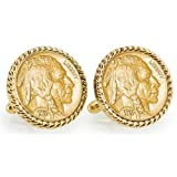 Gold-Layered 1913 First-Year-of-Issue Buffalo Nickel Goldtone Rope Bezel Cuff Links