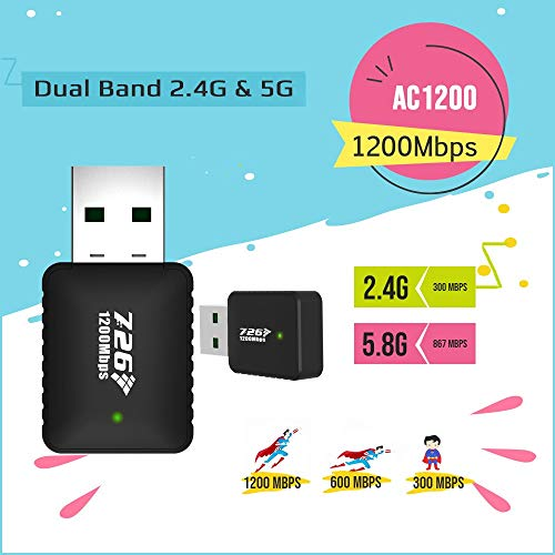 WiFi Adapter 1200Mbps WiFi Dongle Mini Dual Band 2.4G/5G USB Wireless Network Adapter Support for MAG 254 256 322 Mag322w1 Mag324w2 (1) (Qty-1)