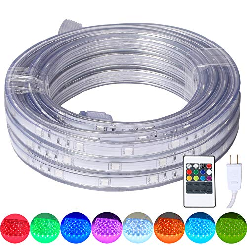 - 16.4 Feet Flat Flexible LED Rope Lights, Color Changing RGB Strip Light with Remote Control, 8 Colors Multiple Modes, Plug in Novelty Lighting, Connectable and Waterproof for Home Kitchen Outdoor Use