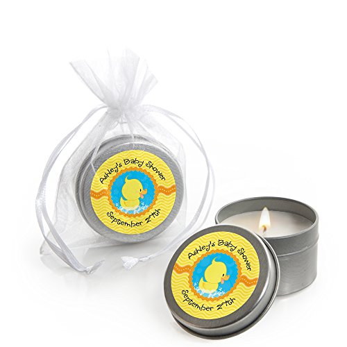 Big Dot of Happiness Custom Ducky Duck - Personalized Candle Tin Baby Shower Favors - Set of 12 -