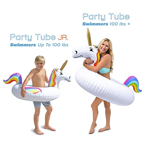 GoFloats Unicorn Pool Float Party Tube – Inflatable Rafts, Kids & Adults, Junior, Multi