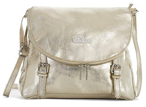 LiaTalia Soft Leather Cross-Body Handbag - 100% Real Italian Messenger Bag - Medium Size - STELLA [Metallic - Gold] ()