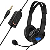 Everydaysource® compatible with Sony PlayStation 4 (PS4) Black Handsfree Gaming Gamer Headset with Boom Microphone