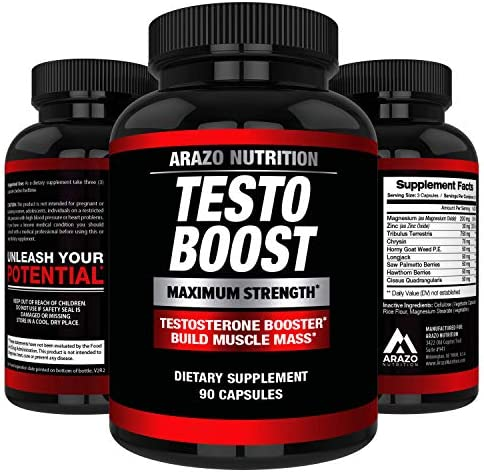 TESTOBOOST Test Booster Supplement – Potent Natural Herbal Pills – Boost Muscle Growth – Tribulus, Horny Goat Weed, Hawthorn, Zinc, Minerals – Arazo Nutrition USA