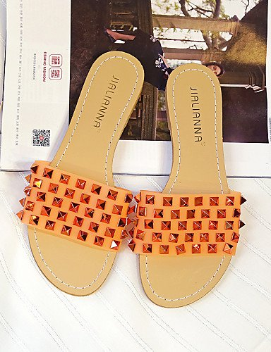 LFNLYX Zapatos de mujer-Tacón Plano-Punta Redonda / Punta Abierta-Sandalias-Vestido-Semicuero-Negro / Blanco / Naranja Green