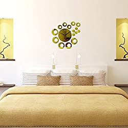 Ghaif Diy creative round wall clock 3D, B Removable For bedroom living room kitchen TV background wall bathroom dormitory office