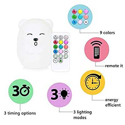LED Baby Night Light XFunino Soft Silicone Night Lamp Kids Christmas Lights Children Nursery Lamps RGB Tap Control + Remote Control, 9 Colors Changing Breathing 4 Light Modes, Rechargeable Bear Light