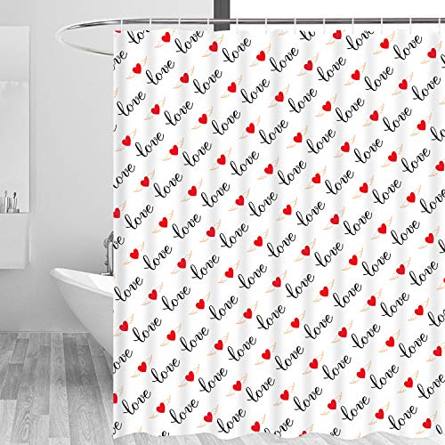 Heart Shower Curtain (Romantic Hearts Love Oath Shower Curtain with 12 Hooks, Durable Waterproof Bath Curtain for)