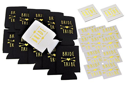 Bachelorette Party Bride and Bride Tribe Can Cooler Set - 11 Pack - INCLUDES 12 MATCHING TEMPORARY TATTOOS]()