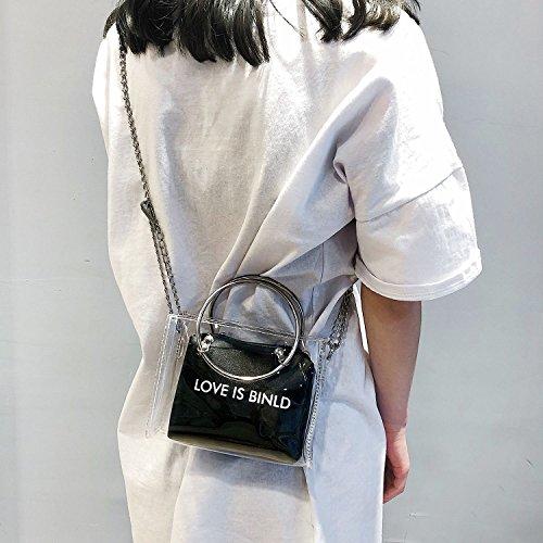 Fourre Poignee Mode Adolescentes Bandouliere Pour Ensemble De Transparent Femmes Circulaire En A D'embrayage Sac tout Les Gelee Noir Toogoo wxpnqw