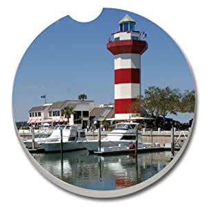 CounterArt Absorbent Stoneware Car Coaster, Harbour Town Lighthouse