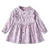 Sacherron Tech Skirt child Toddler Baby Girls Long Sleeve Solid Ruched Floral Dressed Clothes Solid Color Bow Flower Print Princess Dress Purple