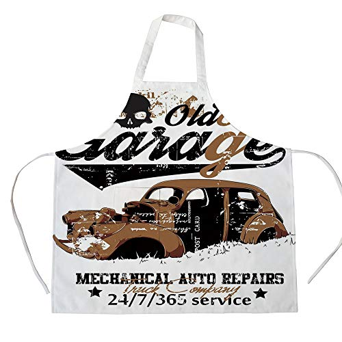iPrint Cotton Linen Apron,Two Side Pocket,Cars,Old Garage Mechanical Auto Repairs Truck Company Skull Grunge Display Decorative,Pale Brown Black White,for Cooking Baking Gardening