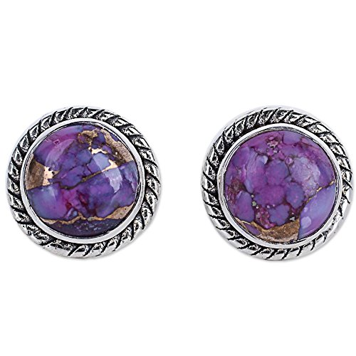 (NOVICA Round Purple Reconstituted Turquoise .925 Sterling Silver Stud Button Earrings 'Purple Radiance')