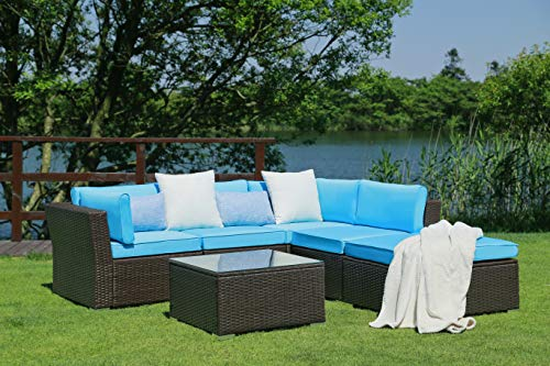 N&V Patio Furniture Set (6 Pieces) Modern Outdoor Furniture Sofas with Seat Cushions Pillows Tea Table Glass Top Lumbar Pad Blanket Fashion Couch Sets for Garden Backyard Pool (Blue)