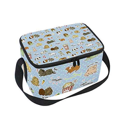 Lunch Bag Guinea Pig Cavy Rodent, Large Insulated Bento Cooler Box with Black Shoulder Strap for Men Women Kids, BaLin 10