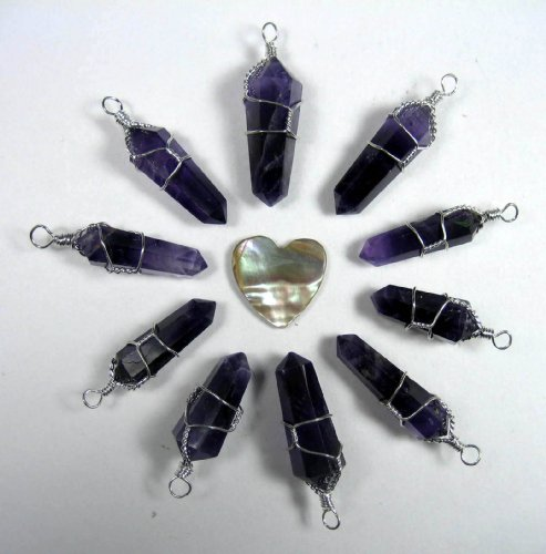 10 Double Terminated Wire Wrapped Amethyst Pendants with Carved Abalone Heart -