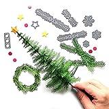 Letong Metal Christmas Tree Wreath Cutting Dies Stencil Scrapbook DIY Paper Craft Gifts (silver)