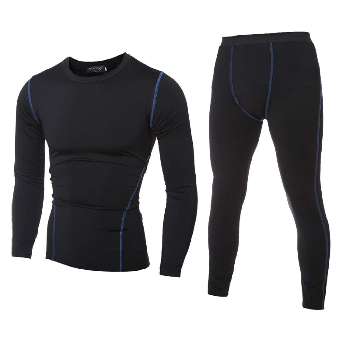 Comaba Men Athletic Quick Drying Jammer Long-Sleeve Activewear Set Top/&Pants