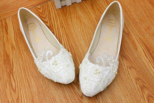 plana perla de blanco boda novias zapatos tal nupcial JINGXINSTORE el encaje Talones bajo aY5x5