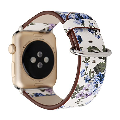 YOSWAN Bracelet for Apple Watch, National Black White Floral Printed Leather Watch Band 38mm 42mm Strap for Apple Watch Flower Design Wrist Watch Bracelet (White+ Blue Flower, 42mm)
