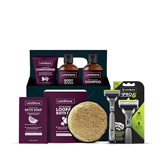 LetsShave Bath Zilla Shower, Shampoo, Face Wash and Shave Kit, Pack of 6