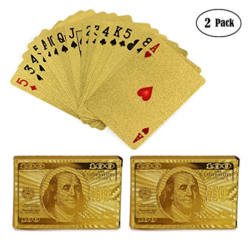 KISEER 2 Pack 24K Gold Foil Playing Cards Waterproof Gold Plated Poker for Table Game or Magic (100 Dollar Pattern) (24k Gold Plated Playing Cards With Case)