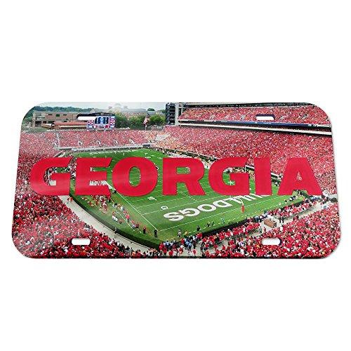WinCraft NCAA Georgia Bulldogs Crystal Mirror Stadium License Plate, Team Color, One Size - Georgia Bulldogs Ncaa Crystal