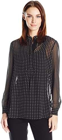 Anne Klein Women's Dot Print Long Sleeve Blouse