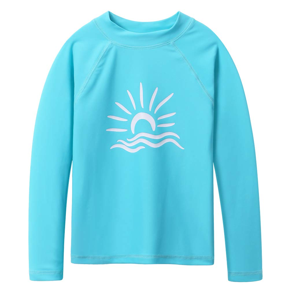 TFJH E Long Sleeve Swim Shirt for Girls Rash Guard Suit Sun Protection 50+ 9-10years, Cyan 12A by TFJH E (Image #1)