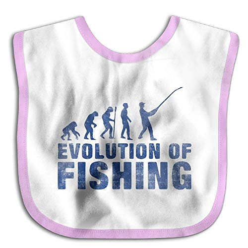 Evolution Of Fishing Pink Adorable Baby Bandana Drool Bibs, Unisex Burp Cloths for Drooling and Teething - for Boys and Girls