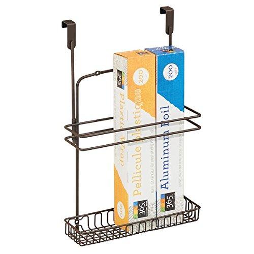 mDesign Cestino portaoggetti da appendere – Organizer cucina e bagno – Cestello in metallo per fogli alluminio, prodotti, utensili – bronzo utensili - bronzo MetroDecor