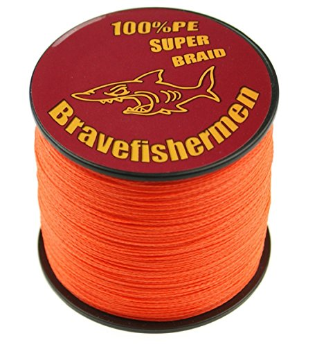 Fluorescent orange Super Strong Pe Braided Fishing Line 6LB to100LB (500m, 8LB) (Best Knot To Join Braid To Mono)