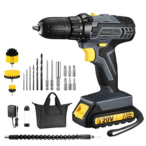 Cordless Drill, Power Drill 20V MAX Lithium-Ion Cordless Drill/Driver Set, Drill Kit with 1/2 inches Keyless Chuck, Fast Charger, 2 Variable Speed, Built-in LED, 22Pcs Drill/Driver Bits, Grey