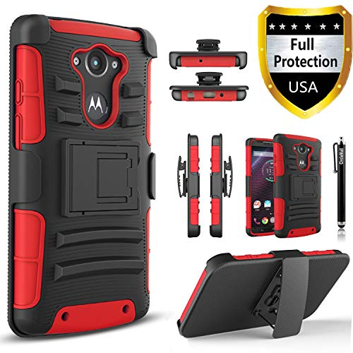Droid Turbo Case, Circlemalls Dual Layers [Combo Holster] and Built-in Kickstand Bundled with Dual Layers Protection Hybrid Shockproof Phone Case and Stylus Pen for Motorola Droid Turbo XT1254-Red