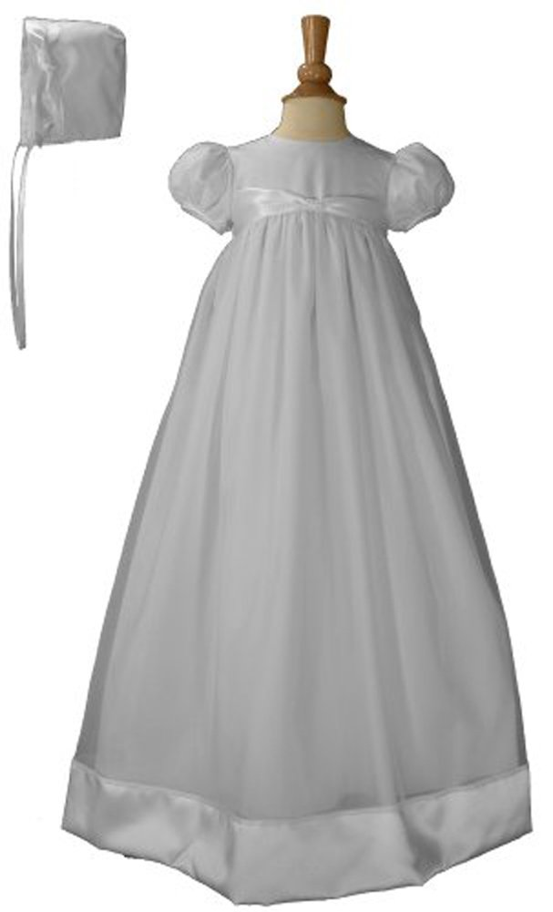 31'' White Organza Christening Baptism Gown Accented with Polyester Satin Ribbon and Bonnet, 03