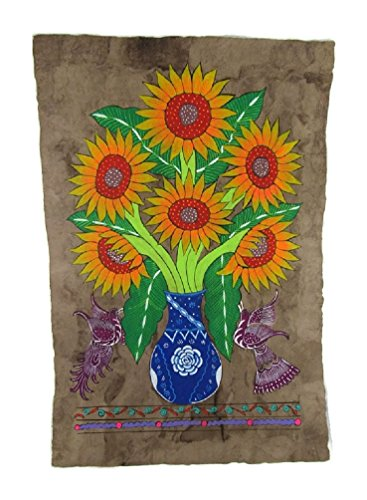 Mexican Bark Painting (HAND PAINTED FLOWERS ON HAND MADE AMATE BARK PAPER FROM MEXICO BEAUTIFUL BRIGHT COLORS Approx. SIZE 24