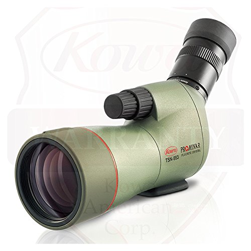 Kowa Prominar Series TSN-553 Compact 15-45x55 Fluorite Crystal Spotting Scope with Angled Eyepiece, 14-12.5mm Eye Relief, 3m (9.84') Min Focus Distance, Waterproof, Green (553 Series)