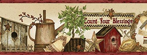 Chesapeake PUR44511B Sharden Red Country Blessings Wallpaper Border