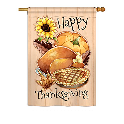 Angeleno Heritage H137076 Happy Thanksgiving Feast Decorative Vertical House Flag, 28