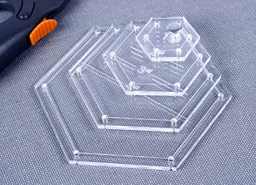 "Hexagon Premium Acrylic Quilting Template Kit - 4"" 3"" 2"" 1"" - Edge to Edge"