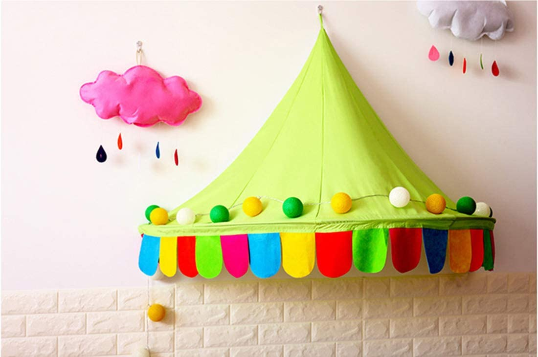 Reading Nook for Babies /& Toddlers Diameter 130cm//51inch,Blue Childrens Game Tent Half-moon Tent Kids Hanging Play Tent LWKBE Baby Bed Canopy