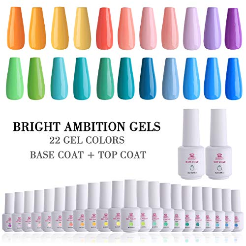 Makartt 24 Gel Nail Polish Sets UV LED Gel 8ml 22 Bright Ambition Color Nail Gel Base Coat Top Coat Full Set Soak Off Gel Kit with Gift Box for Home and Salon Use P-30