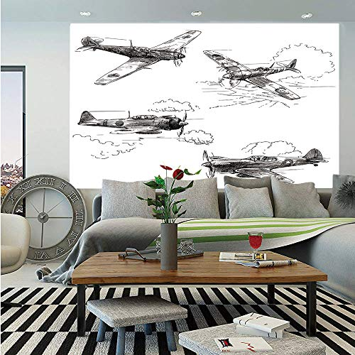 SoSung Airplane Decor Wall Mural,World War Aircraft Army German Pilot Veteran Aggression Historic Vehicle Illustration Decorative,Self-Adhesive Large Wallpaper for Home Decor 83x120 inches, ()