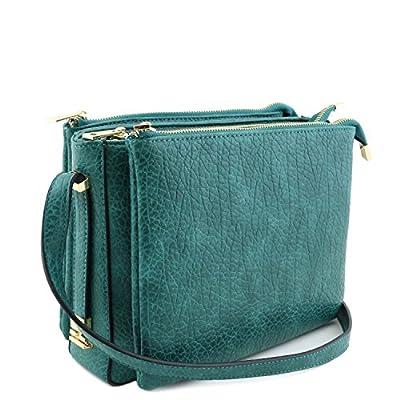 Three Compartment Zipper Top Shoulder Bag