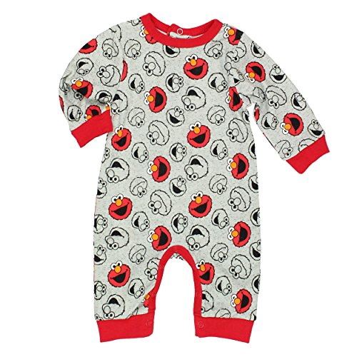 Sesame Street Elmo Baby Boys Coverall Romper (0-3 Months, Elmo Grey) -