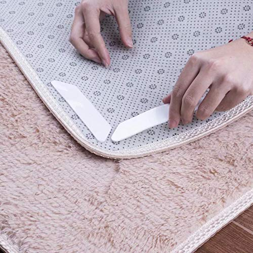 Yelanon Rug Grippers, 8pcs white Anti Curling Carpet Gripper, Renewable Washable Non Slip Tape Pad For Rug, Keeps Your Carpet Edges and Corners Flat, Strong Stickiness Without Hurting Floor by Yelanon (Image #1)
