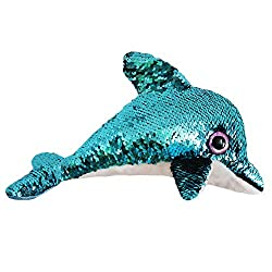 Stuffed Dolphin Plush Toy with Reversible Blue Sequins