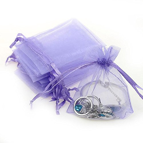 Dealglad 100pcs Drawstring Organza Jewelry Candy Pouch Party Wedding Favor Gift Bags (3x4